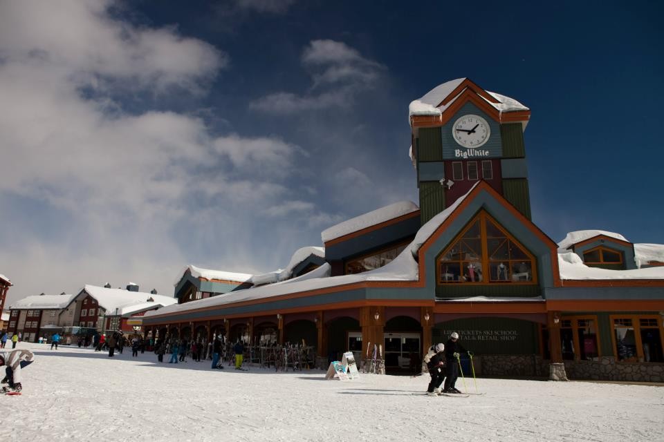 The calm, spacious village at Big White is great for families.